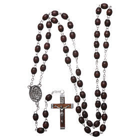 Our Lady of Lourdes wooden rosary 4x3 mm beads, dark brown s4