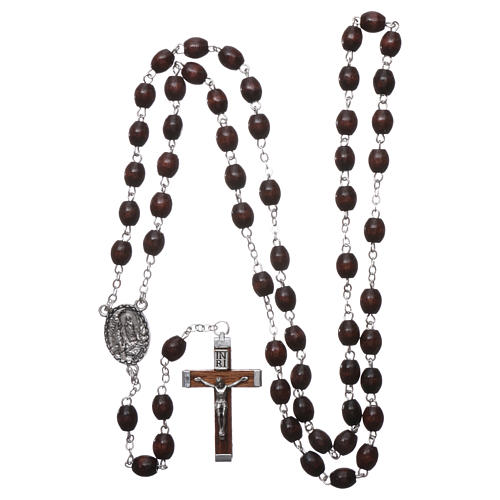 Our Lady of Lourdes wooden rosary 4x3 mm beads, dark brown 4
