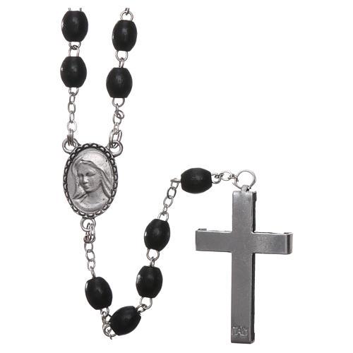 Rosenkranz mit Perlen aus Holz, Muttergotes von Lourdes, 4mm