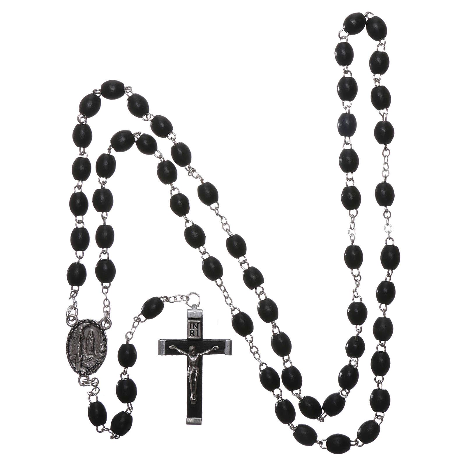 Rosario legno Madonna di Lourdes 4 mm nero 4