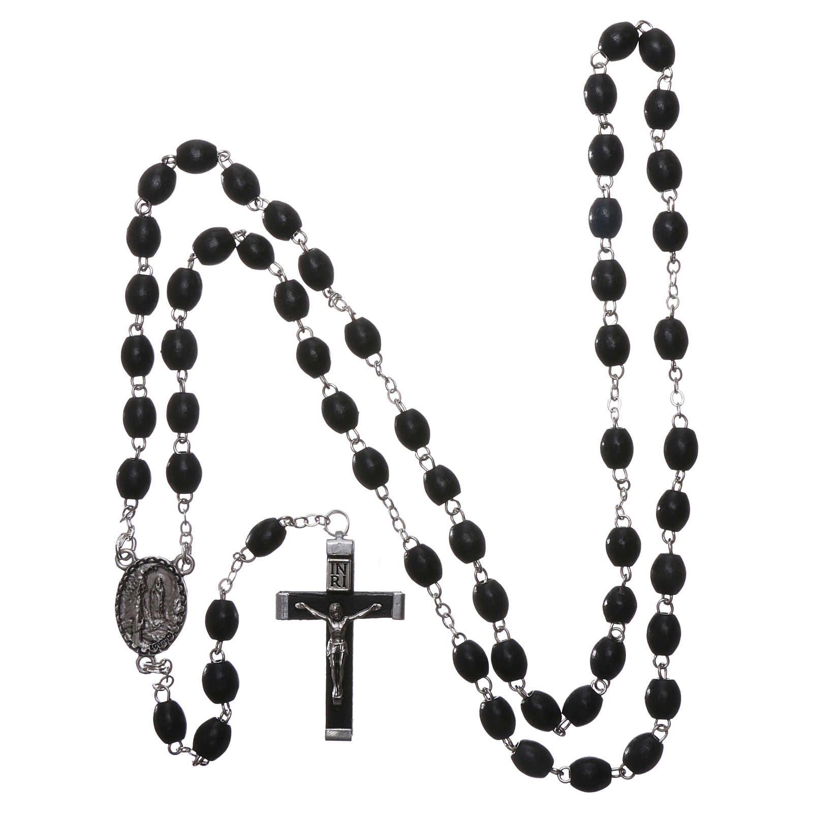 Our Lady of Lourdes wooden rosary 4 mm beads, black 4