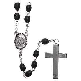 Our Lady of Lourdes wooden rosary 4 mm beads, black s2