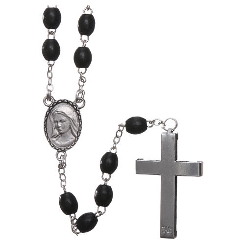 Our Lady of Lourdes wooden rosary 4 mm beads, black 2