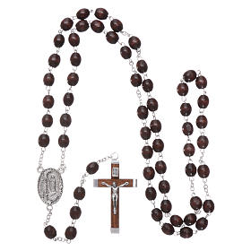 Our Lady of Lourdes wooden rosary 4 mm beads, dark brown s4