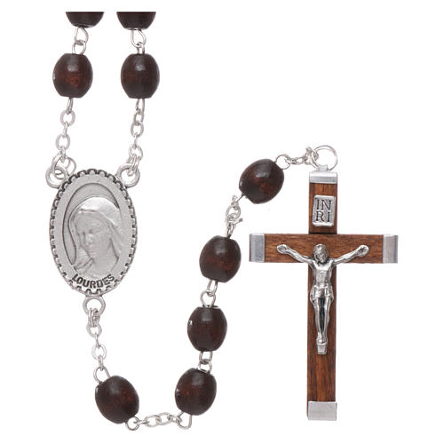 Our Lady of Lourdes wooden rosary 4 mm beads, dark brown 1