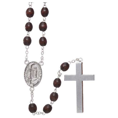 Our Lady of Lourdes wooden rosary 4 mm beads, dark brown 2