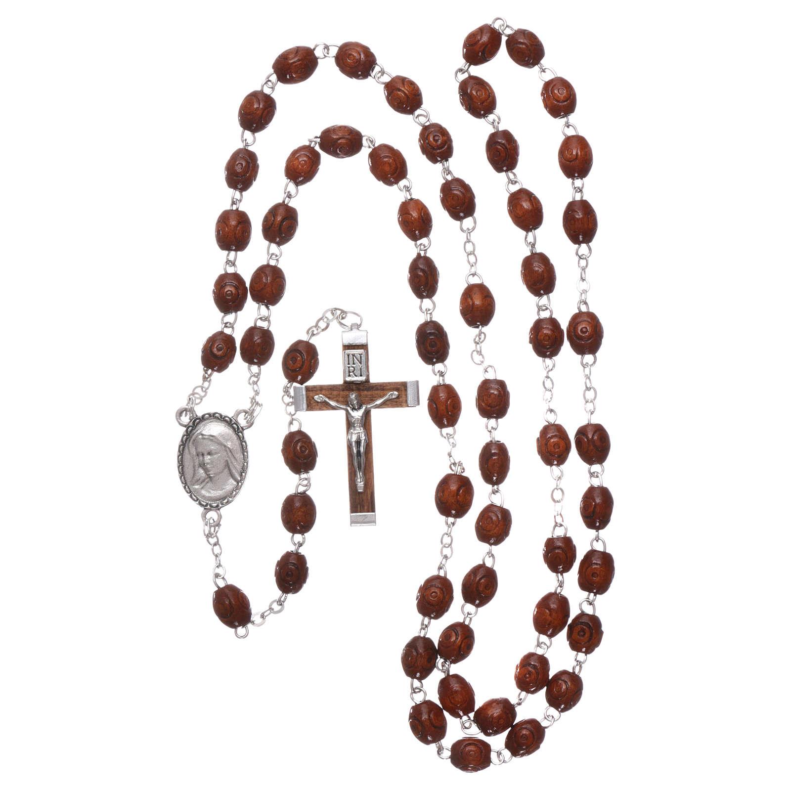 Rosario legno Madonna di Lourdes 4 mm naturale 4