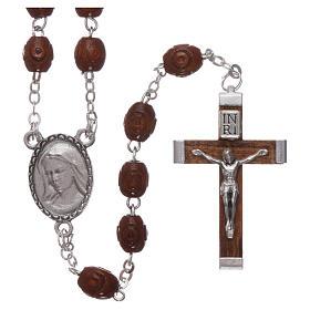 Rosario legno Madonna di Lourdes 4 mm naturale s1