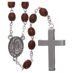 Rosario legno Madonna di Lourdes 4 mm naturale s2