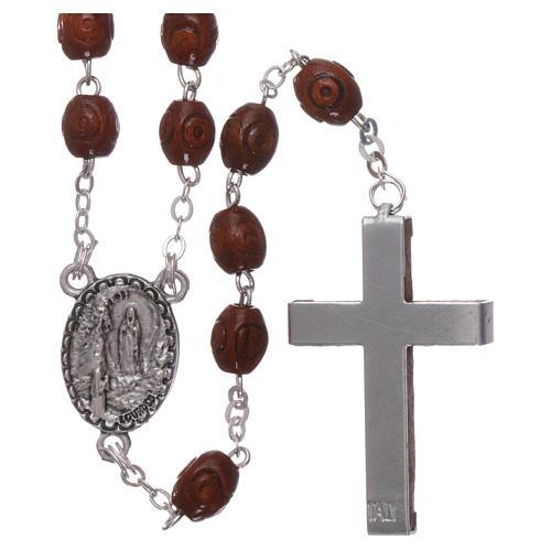 Rosario legno Madonna di Lourdes 4 mm naturale 2