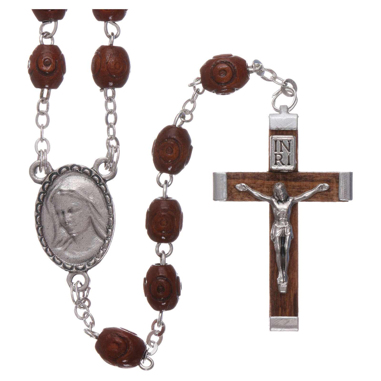 Wood rosary Our Lady of Lourdes natural wood beads 4 mm 4