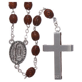 Wood rosary Our Lady of Lourdes natural wood beads 4 mm s2
