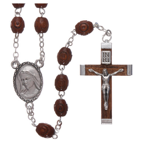 Wood rosary Our Lady of Lourdes natural wood beads 4 mm 1