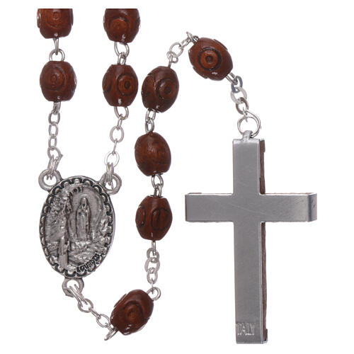 Wood rosary Our Lady of Lourdes natural wood beads 4 mm 2