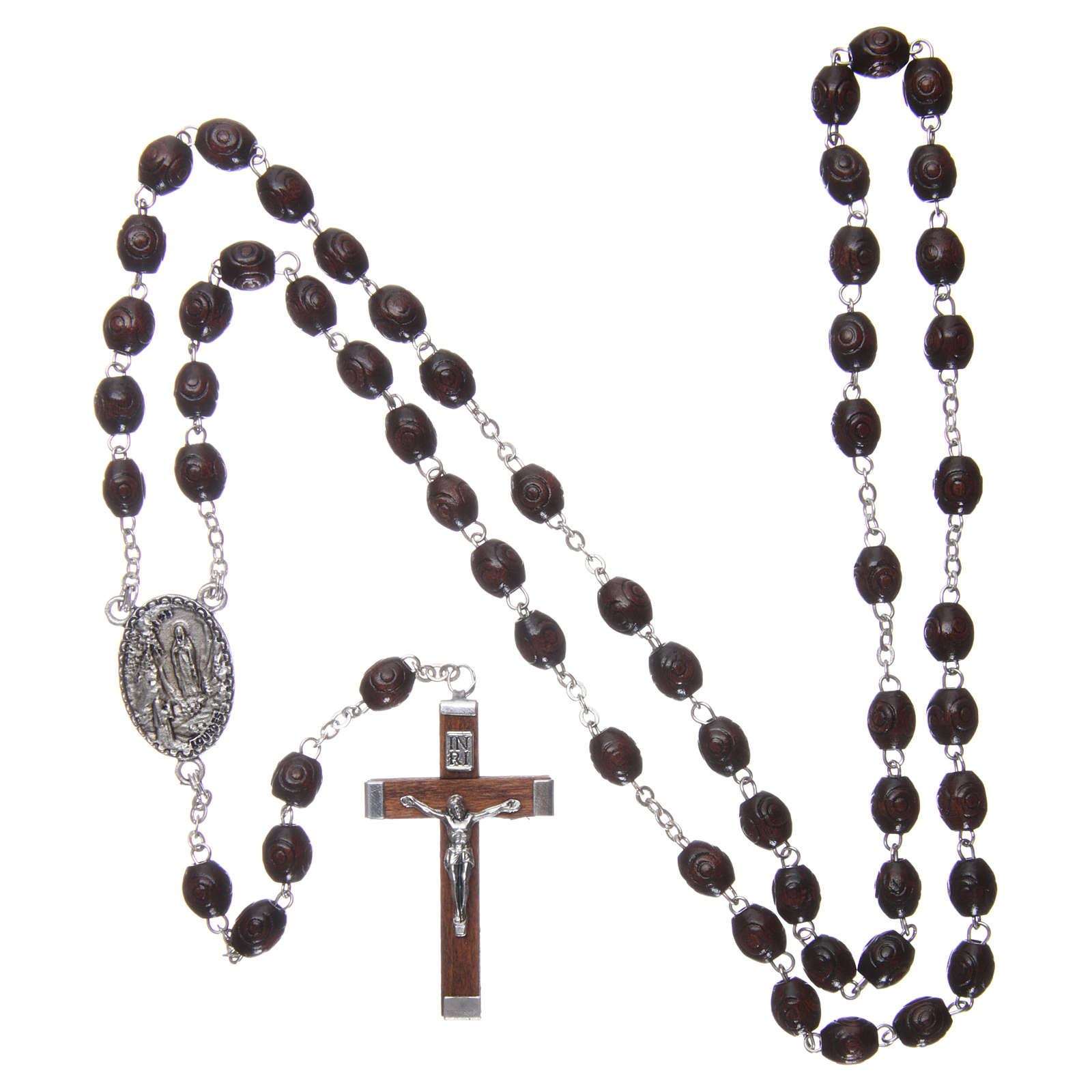 Rosario legno Madonna di Lourdes 5 mm palissandro 4