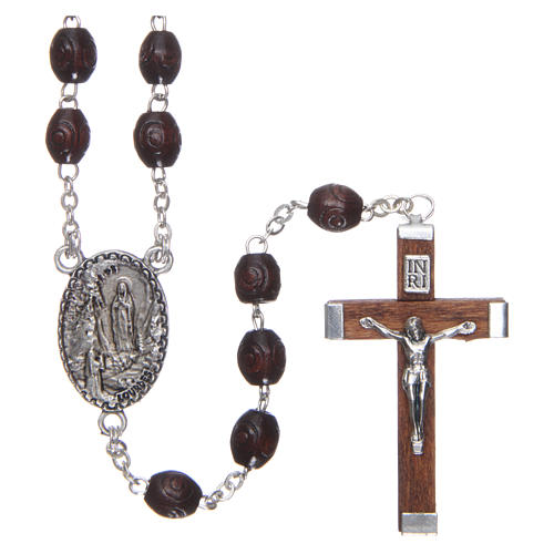 Our Lady of Lourdes wooden rosary 5 mm beads, dark brown 1