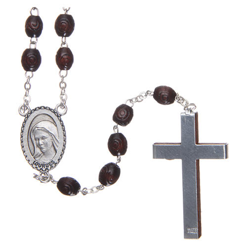 Our Lady of Lourdes wooden rosary 5 mm beads, dark brown 2