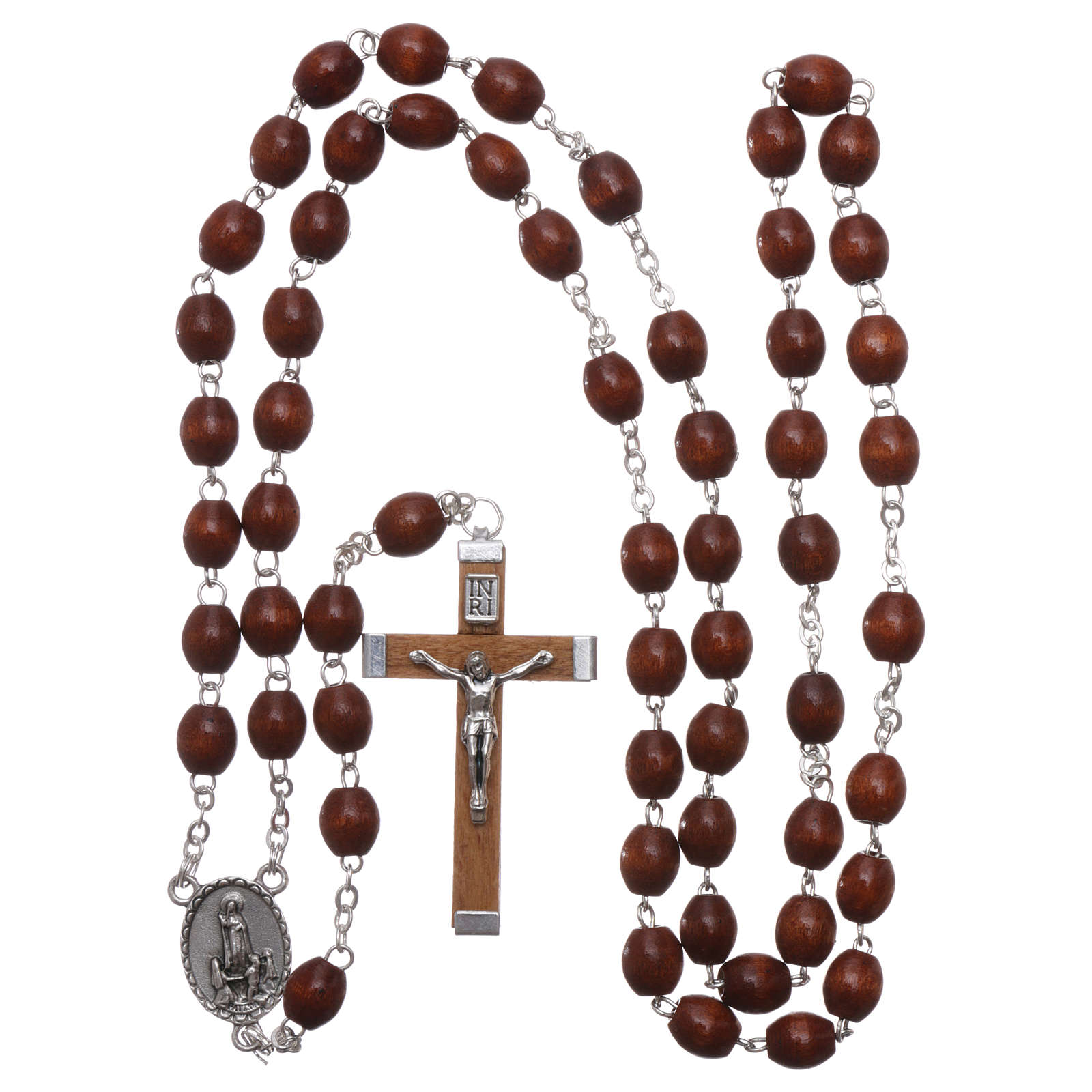 Rosary in natural wood Our Lady of Fatima with Fatima soil 5x4 mm grains 4