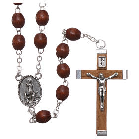 Rosary in natural wood Our Lady of Fatima with Fatima soil 5x4 mm grains s1