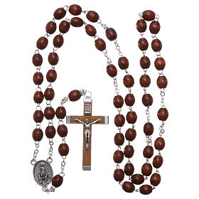 Rosary in natural wood Our Lady of Fatima with Fatima soil 5x4 mm grains s4