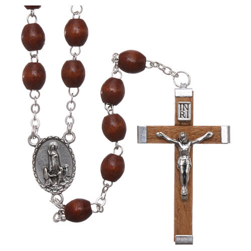 Rosary in natural wood Our Lady of Fatima with Fatima soil 5x4 mm grains 1