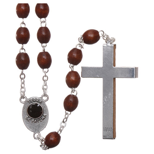 Rosary in natural wood Our Lady of Fatima with Fatima soil 5x4 mm grains 2