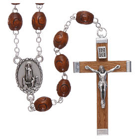 Rosary in natural wood Our Lady of Fatima with Fatima soil 6x5 mm grains s1