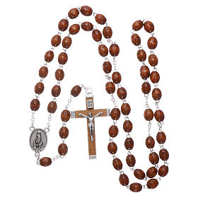 Rosary in natural wood Our Lady of Fatima with Fatima soil 6x5 mm grains s4