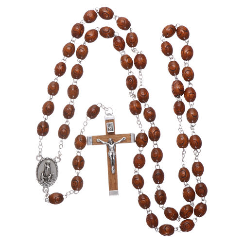 Rosary in natural wood Our Lady of Fatima with Fatima soil 6x5 mm grains 4
