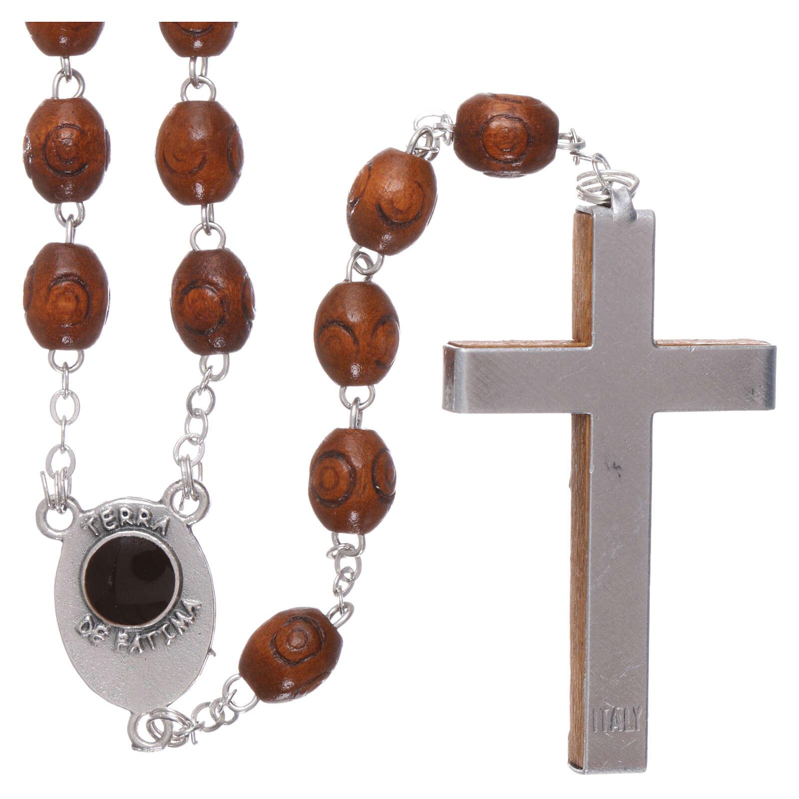 Wood rosary Fatima soil dirt natural wood beads 6 mm 4