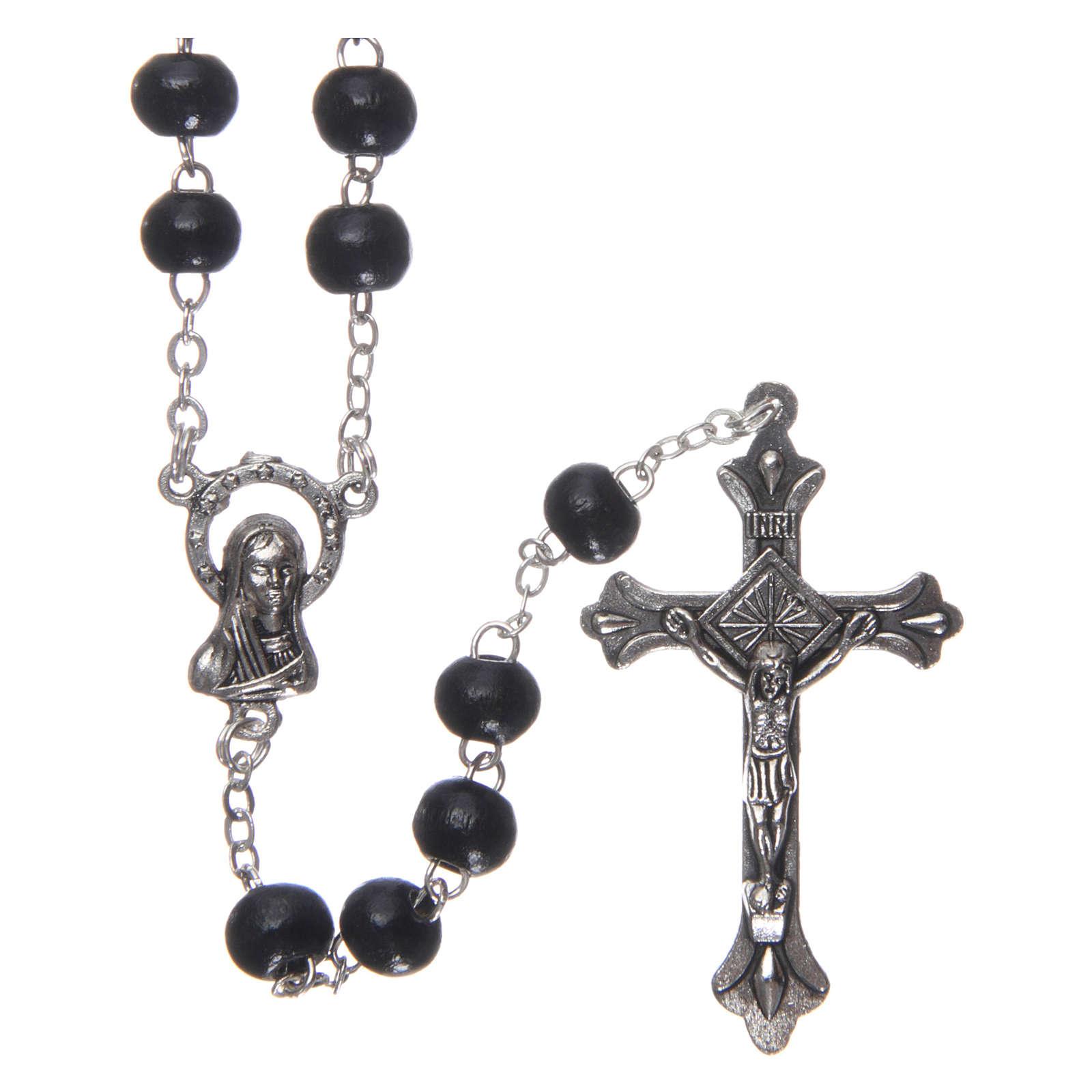 Rosary in wood 3x4 mm grains, black 4