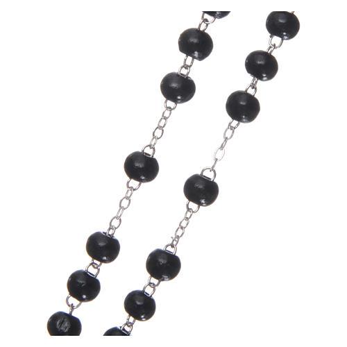 Rosary in wood 3x4 mm grains, black 3