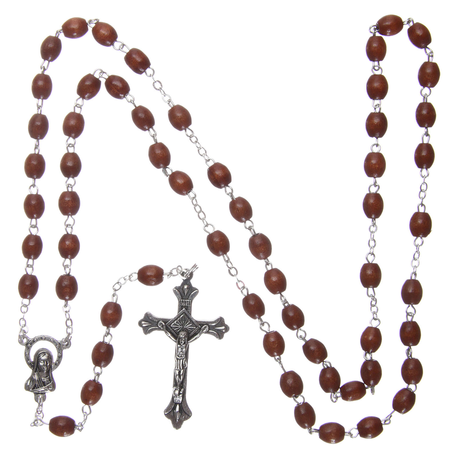 Rosary in wood 4x3 mm grains, natural wood 4