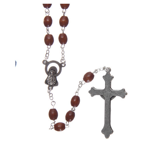Rosary in wood 4x3 mm grains, natural wood 2