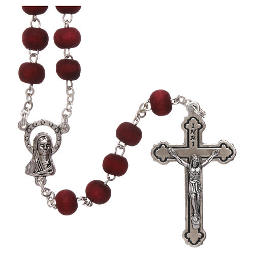 Rosary in scented wood with 3x5 mm grains and rose-shaped grains 1