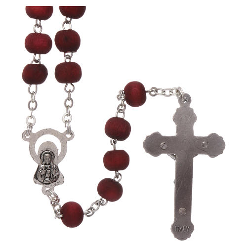 Rosary in scented wood with 3x5 mm grains and rose-shaped grains 2