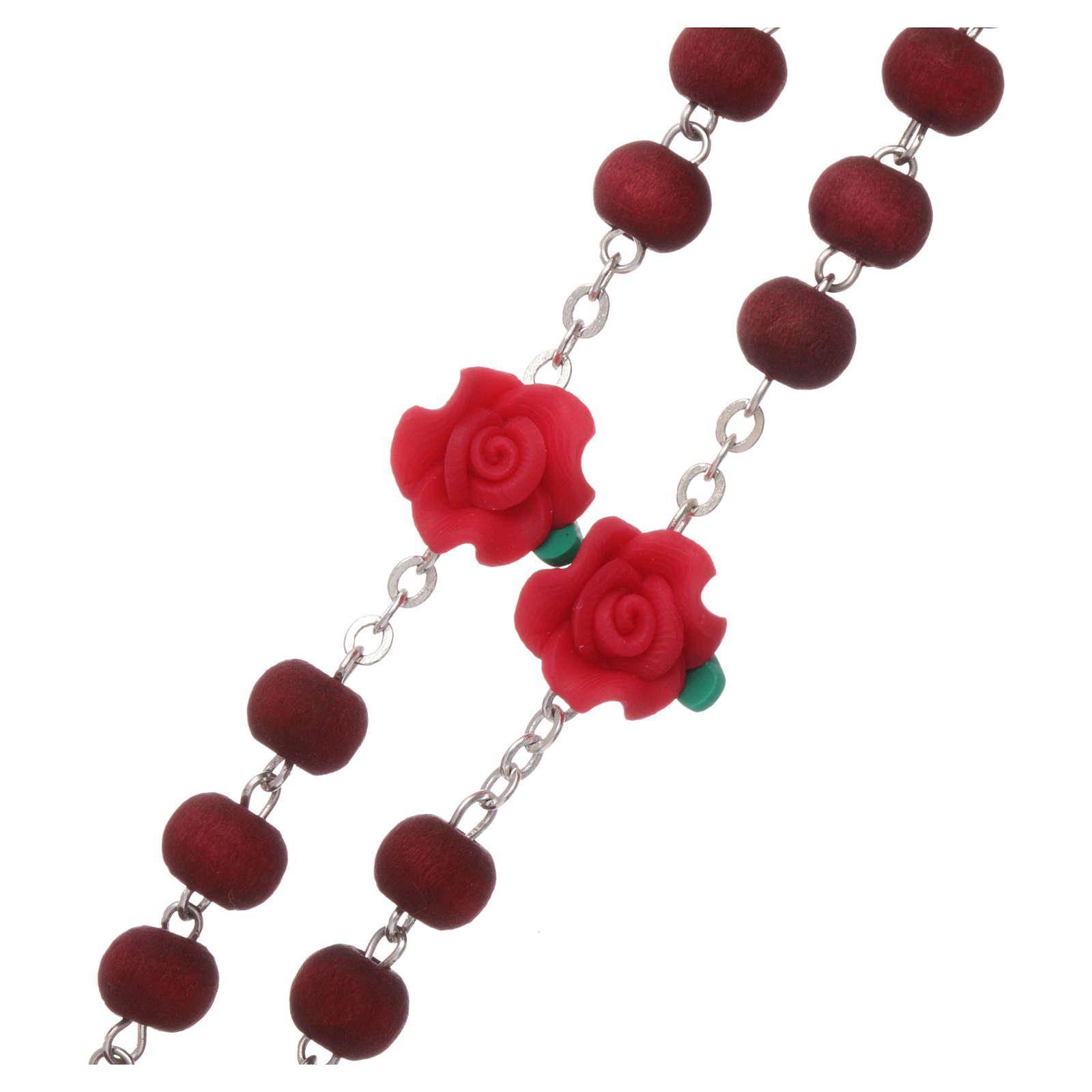 Chapelet bois parfumé grains ronds et en forme de roses 3x5 mm 4