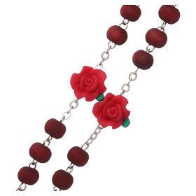 Chapelet bois parfumé grains ronds et en forme de roses 3x5 mm s3