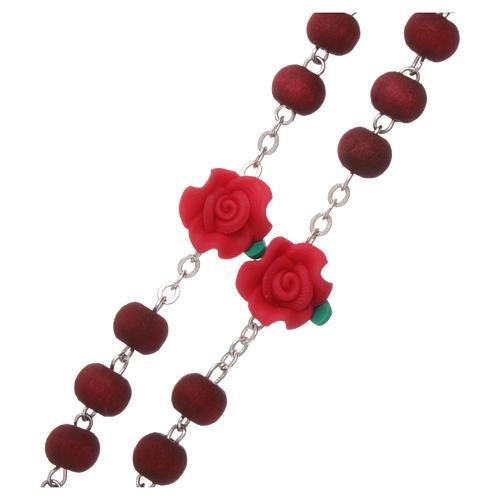 Chapelet bois parfumé grains ronds et en forme de roses 3x5 mm 3