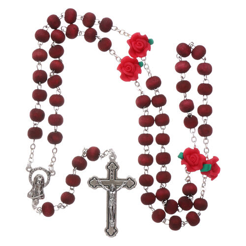 Sented wood rosary round and rose shaped beads 3x5 mm 4