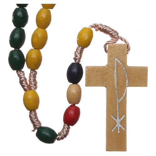 Missionary rosary with wood grains and silk setting 1