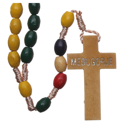 Missionary rosary with wood grains and silk setting 2