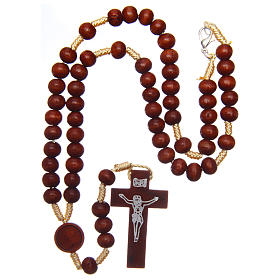 Rosary in raw wood with snap-hook 4 mm s4