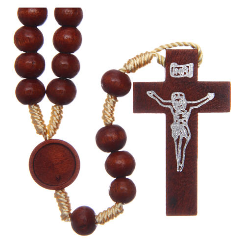 Rosary in raw wood with snap-hook 4 mm 1
