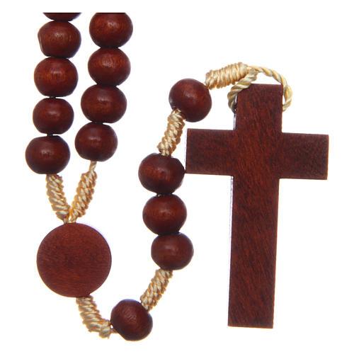 Rosary in raw wood with snap-hook 4 mm 2