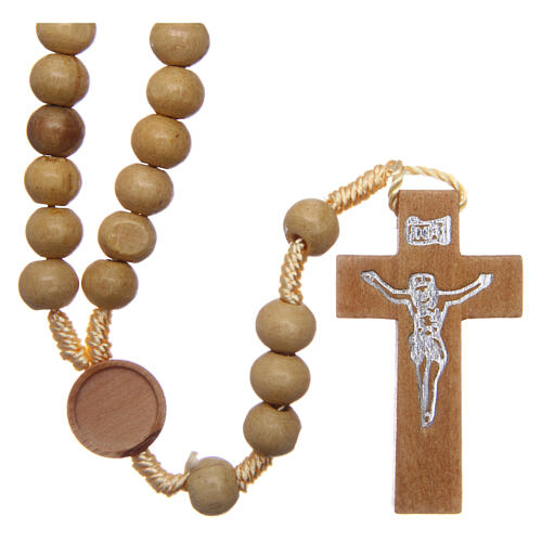 Rosary with pale wood beads 4 mm 1