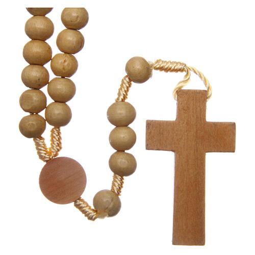 Rosary with pale wood beads 4 mm 2