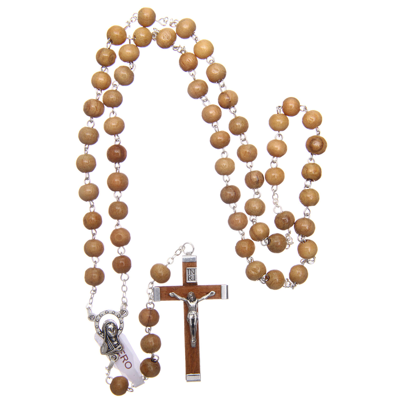 Rosary with round beads of real olive wood 6 mm 4