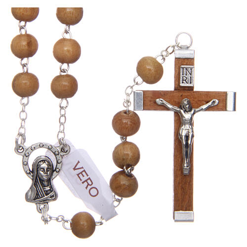 Rosary with round beads of real olive wood 6 mm 1