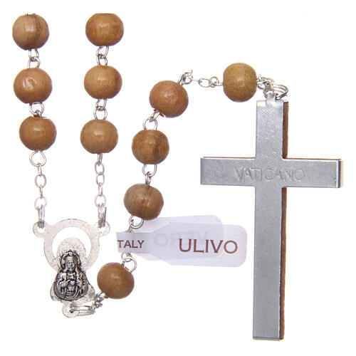 Rosary with round beads of real olive wood 6 mm 2